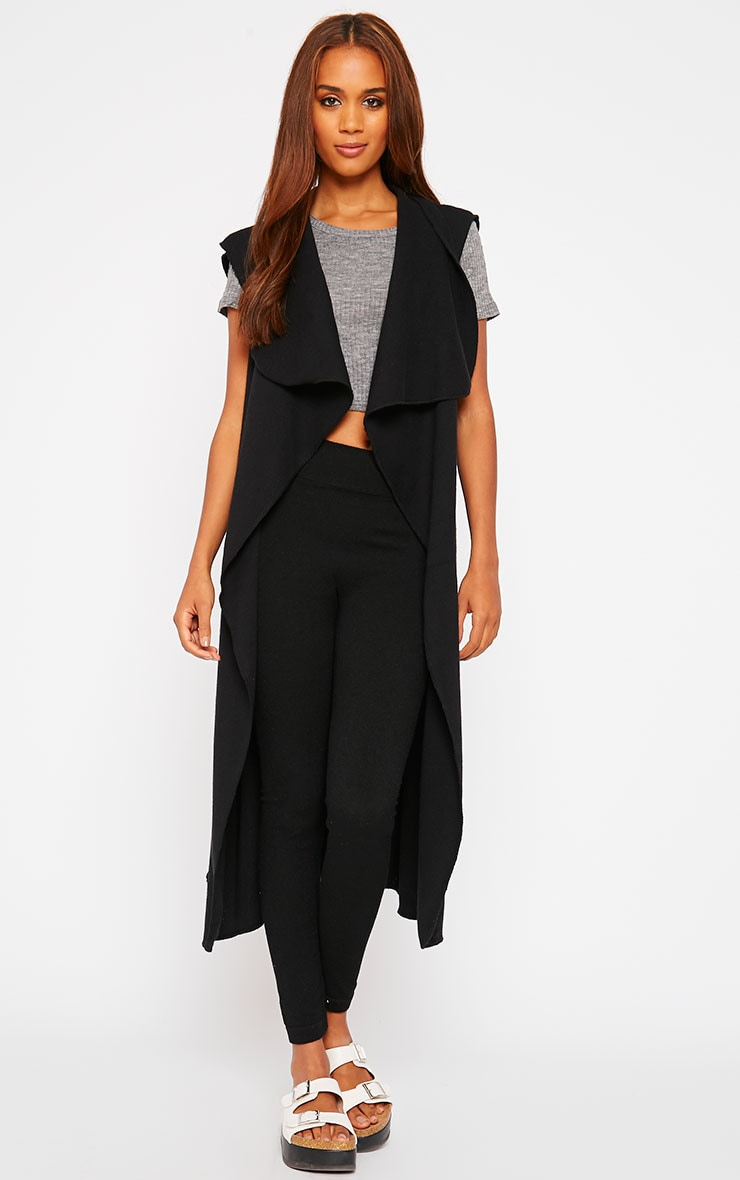 Pari Black Knit Waterfall Sleeveless Cardigan 1