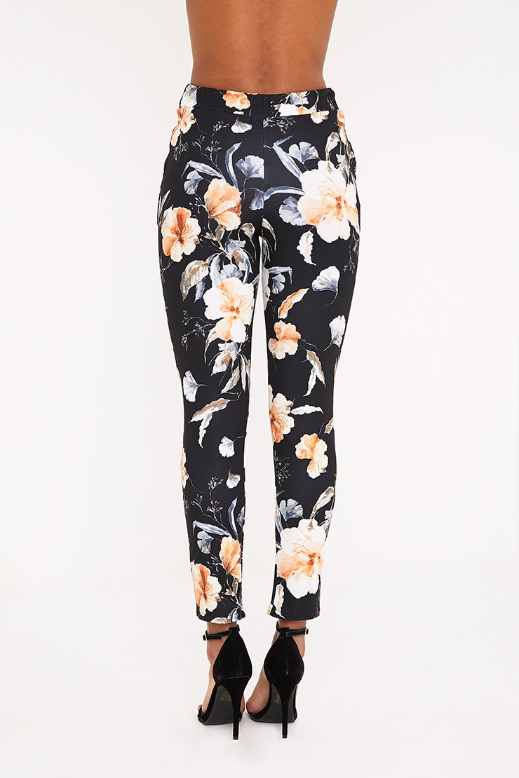 Black Floral Print Trousers 4