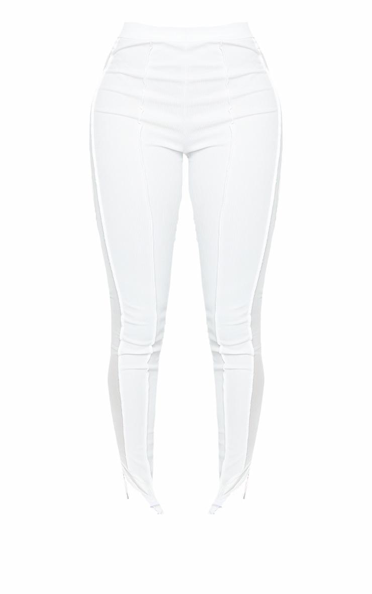 Shape White Rib Mesh Panel Seam Detail Leggings 5