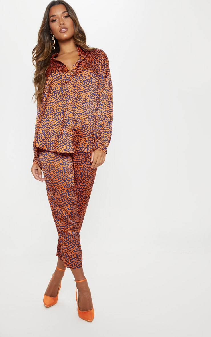 Orange Contrast Leopard Print Oversized Shirt 4