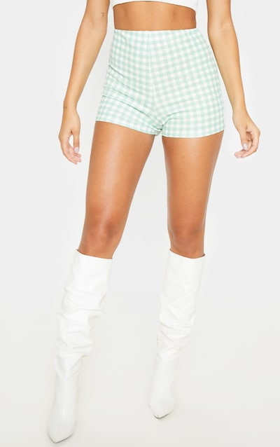 Mint Gingham Check Crepe Short