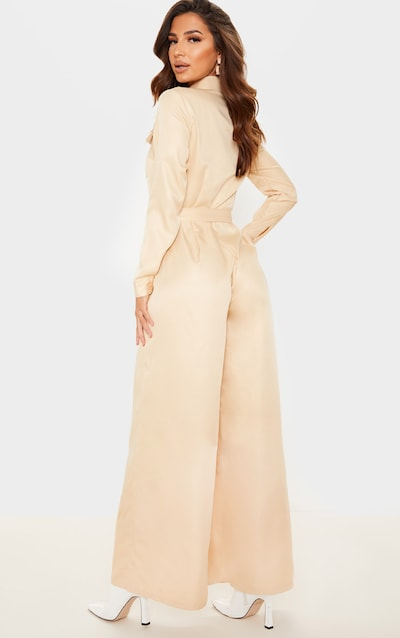 Stone Belt Detail Wide Leg Cargo Jumpsuit