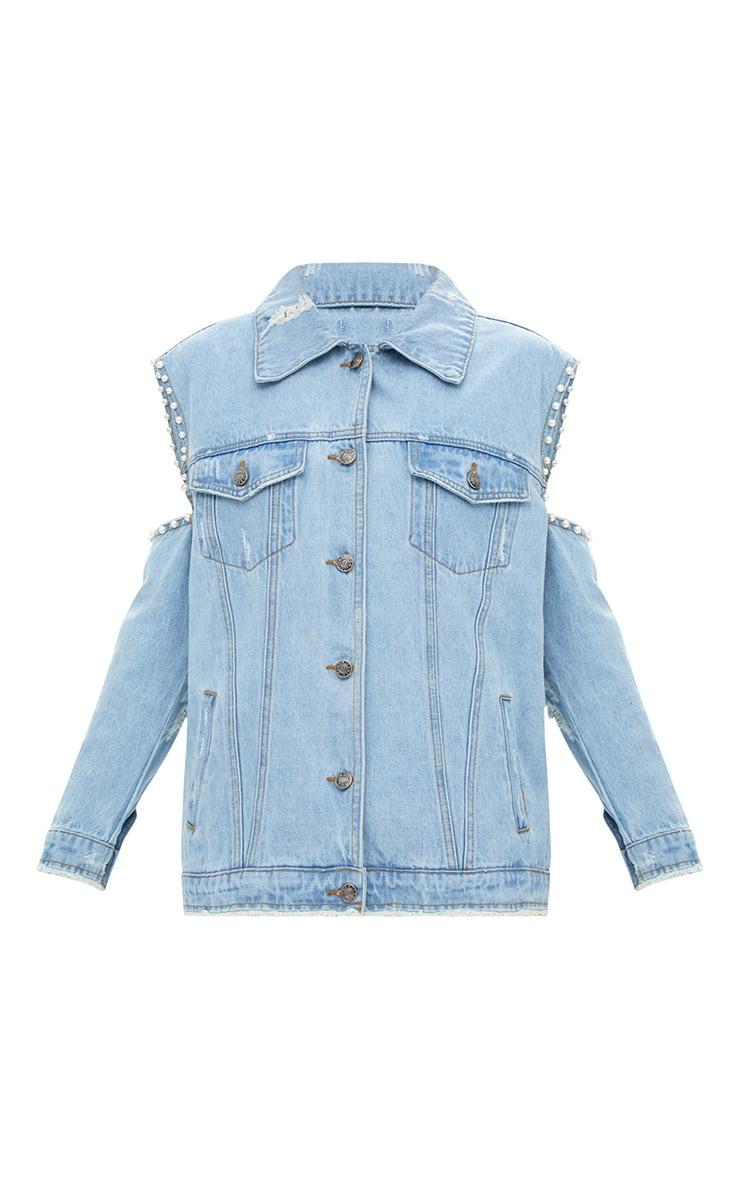 Light Wash Cold Shoulder Pearl Trim Denim Jacket 3