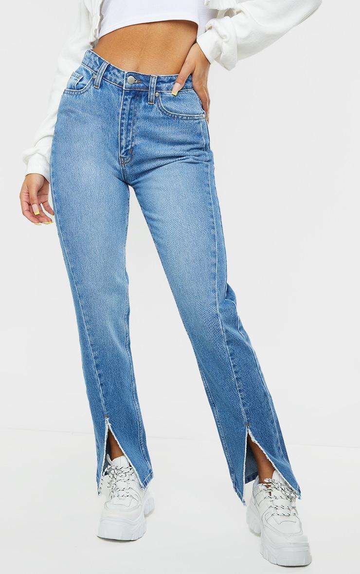 Mid Blue Wash Seam Front Raw Hem Split Front Jeans 2