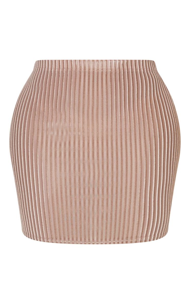 Shape Mocha Striped Velvet Bodycon Skirt 3