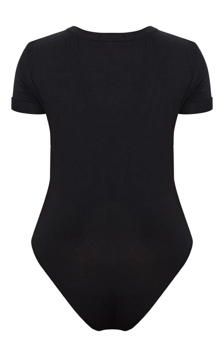 Plus - Body-string en jersey noir à col en V 4
