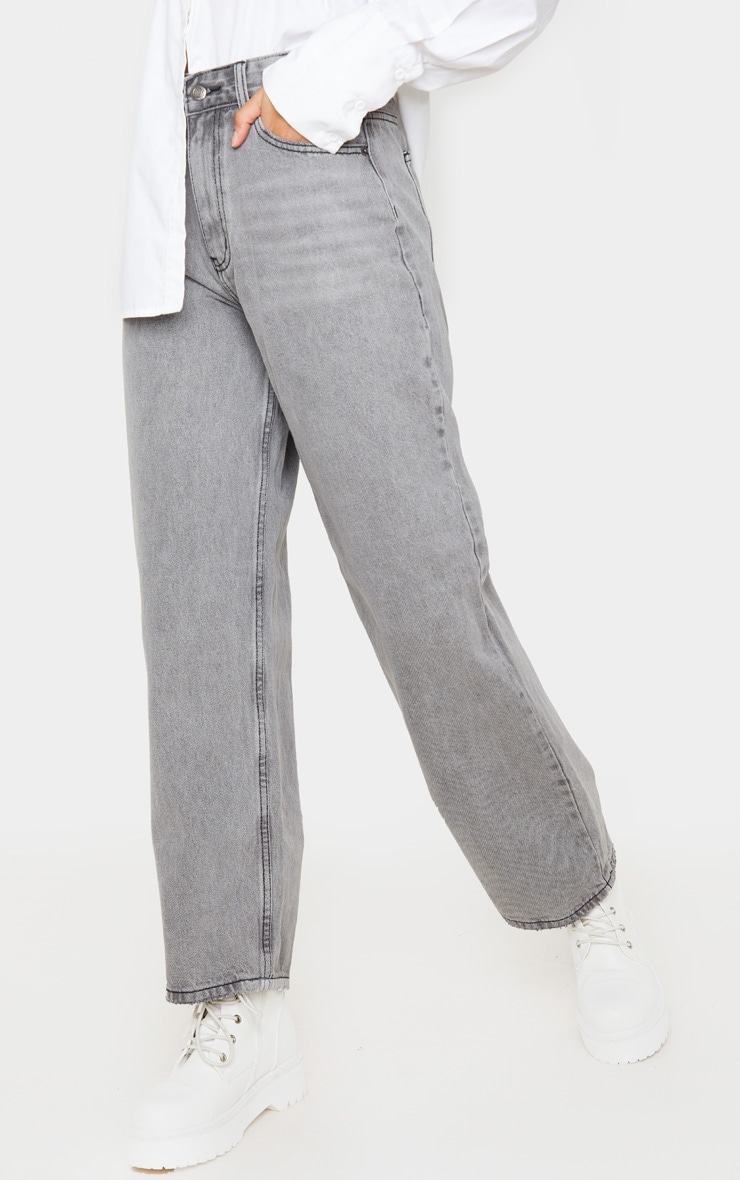 Washed Grey Baggy Low Rise Boyfriend Jeans 2