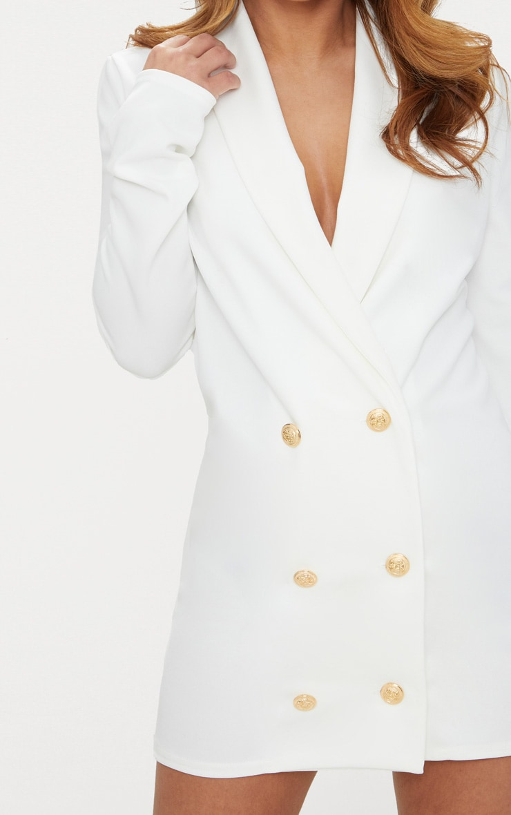 Petite White Gold Button Blazer Dress 5