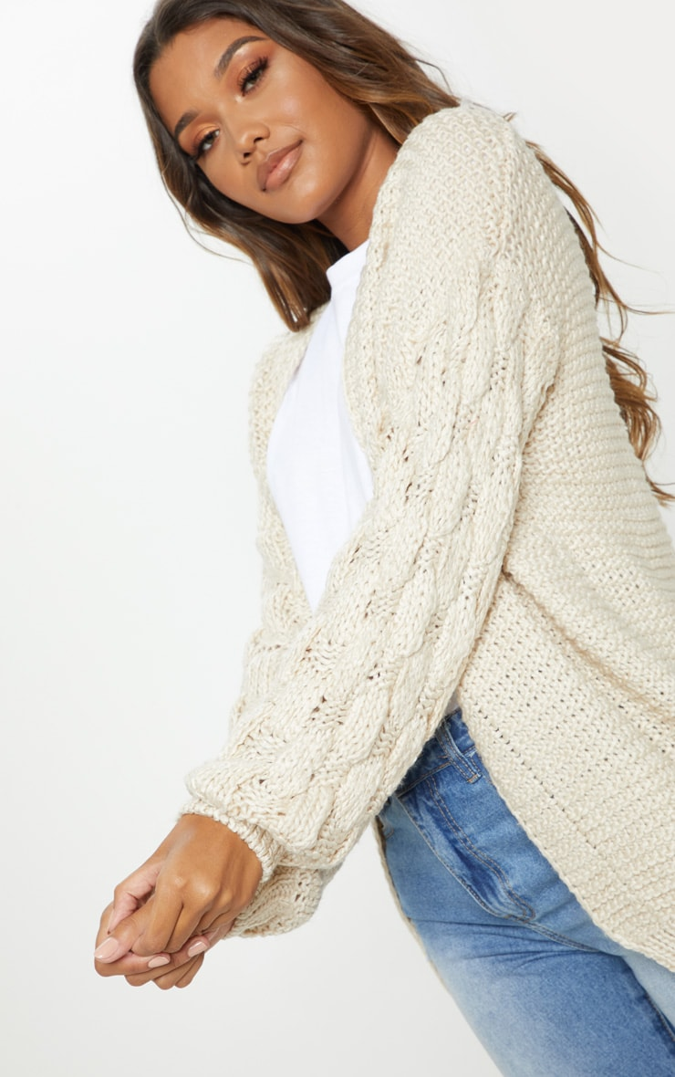 Cream Contrast Knit Cardigan 5