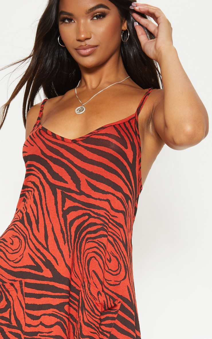 Rust Tiger Print Pocket Front Swing Dress 5