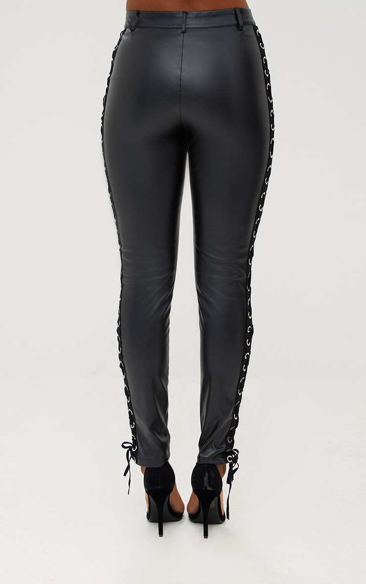 Black Faux Leather Lace Up Skinny Trousers 4