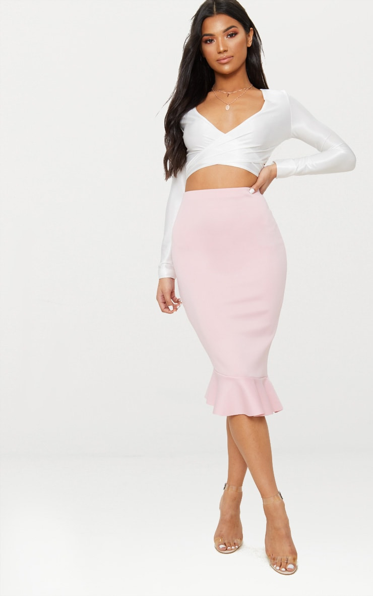Dark Rose Scuba Asymmetrical Frill Hem Skirt 1