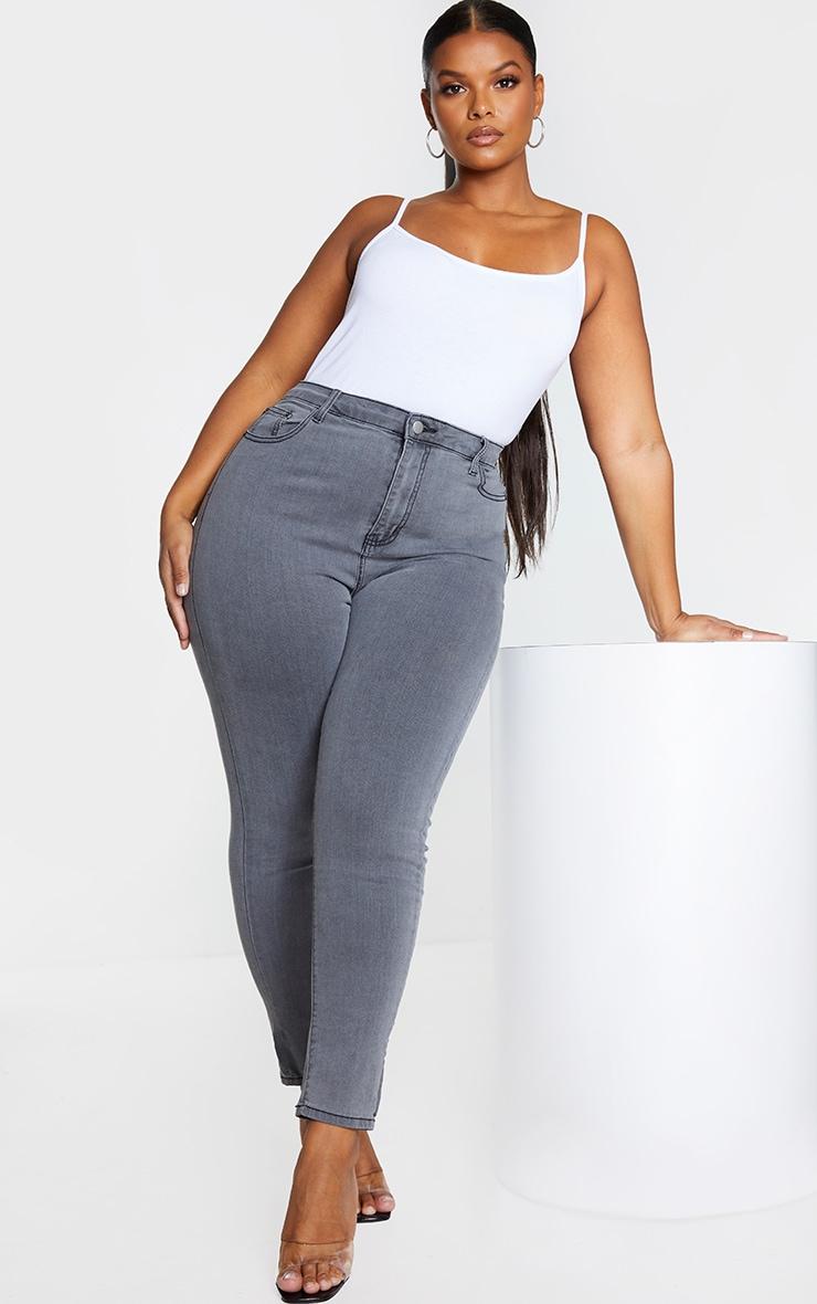 PRETTYLITTLETHING Plus Grey 5 Pocket Skinny Jeans 1