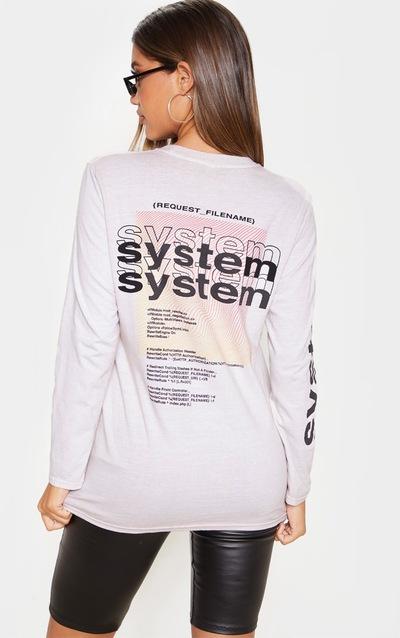 Sand System Slogan Back Print Long Sleeve T Shirt