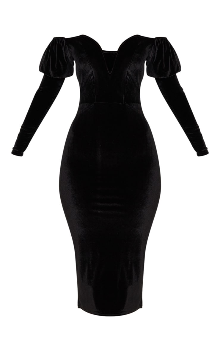 Black Velvet V Bar Puff Sleeve Midi Dress 3