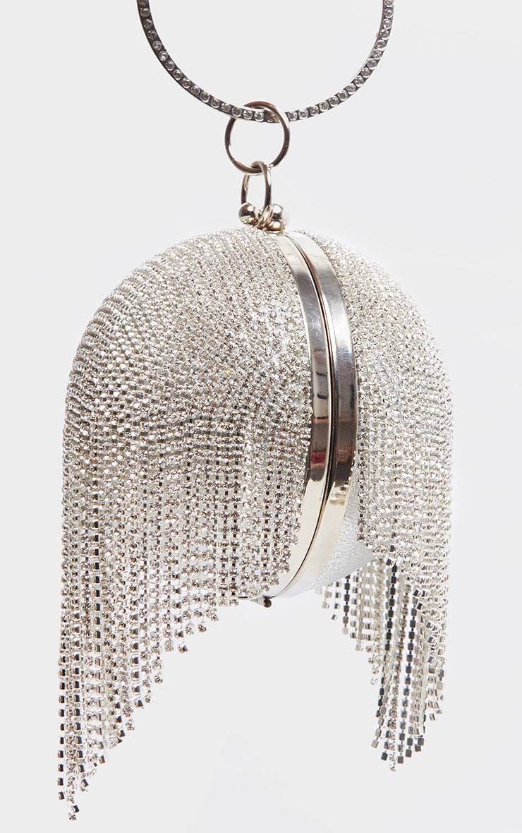 Silver Diamante Tassel Sphere Clutch 4