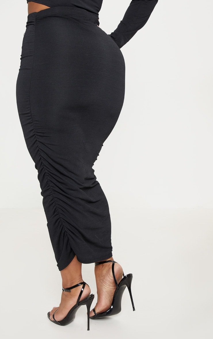 Plus Black Slinky Ruched Midi Skirt 4