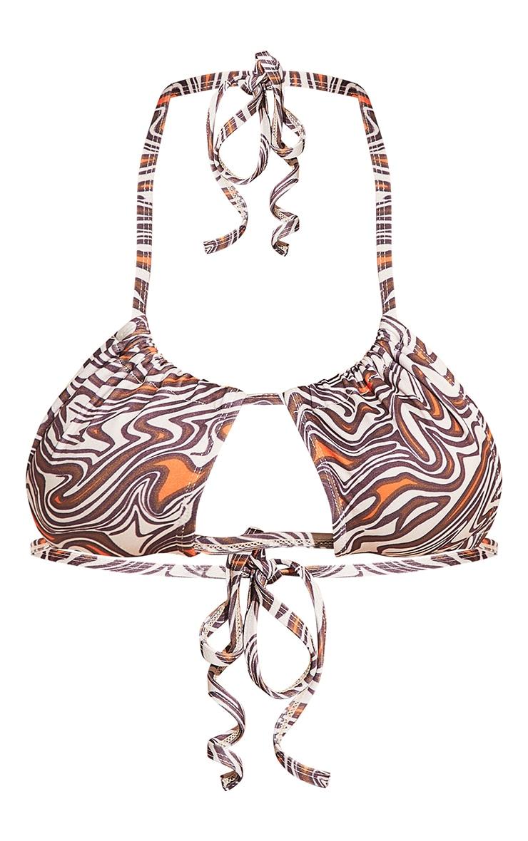 Cream Animal Swirl Print Adjustable Front Bikini Top 8