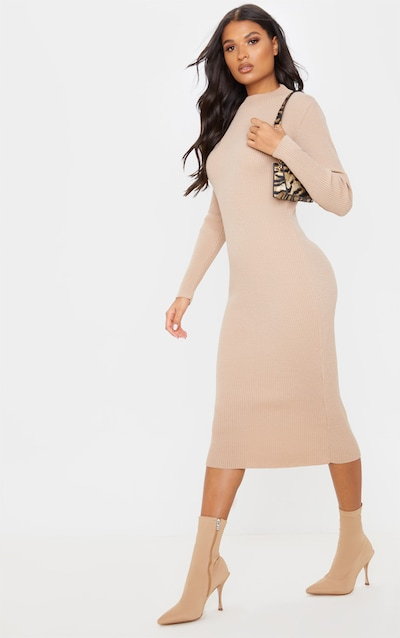 Stone Turtle Neck Midaxi Long Sleeved Dress