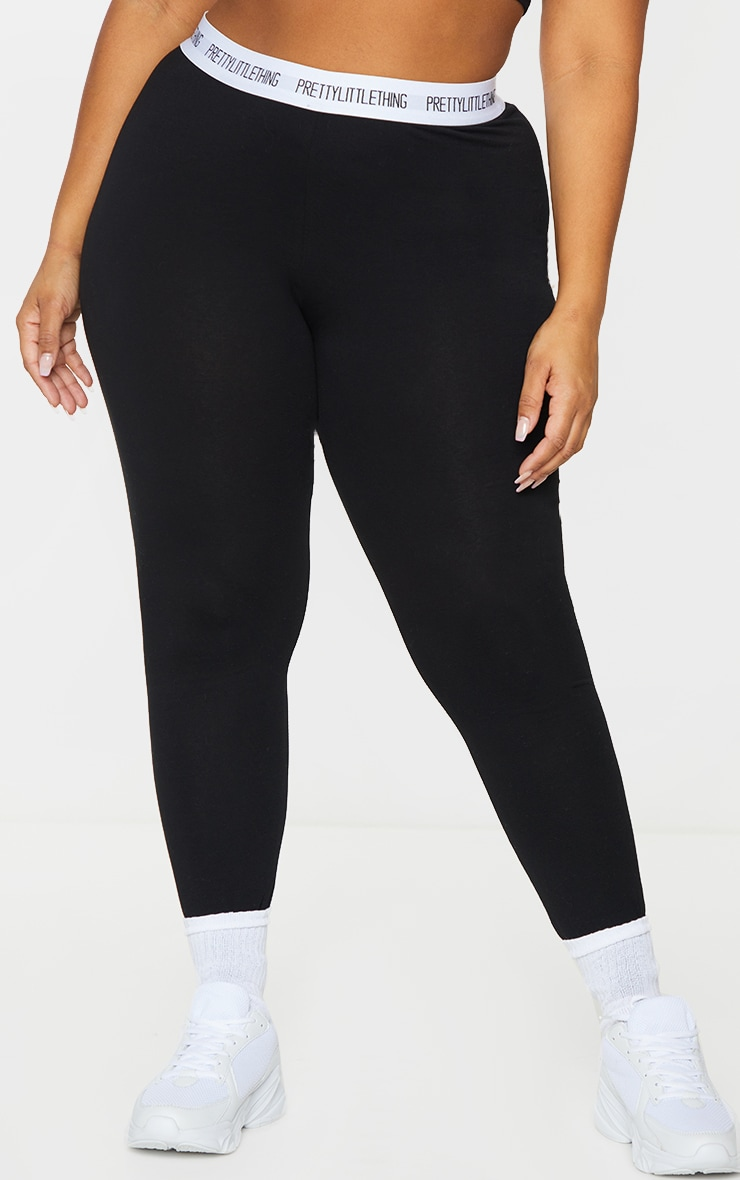 Essential PRETTYLITTLETHING Plus Black Cotton Blend Leggings 2