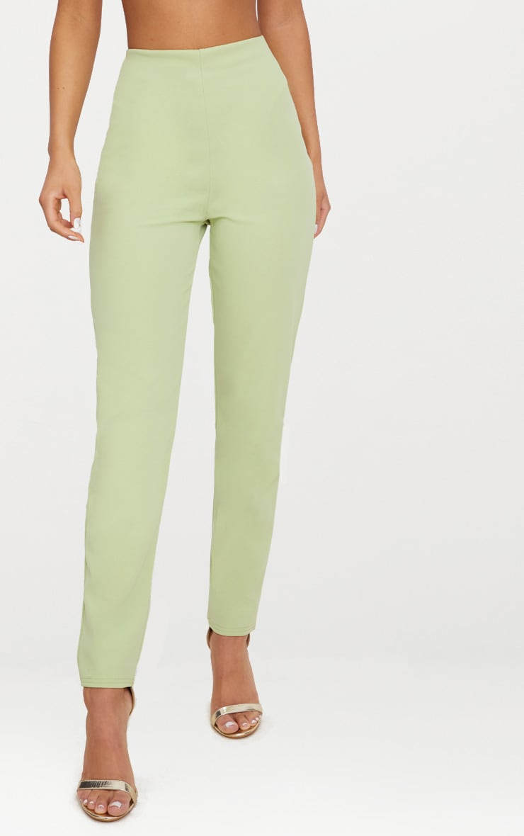 Sage Green Slim Leg Crepe Pants 2