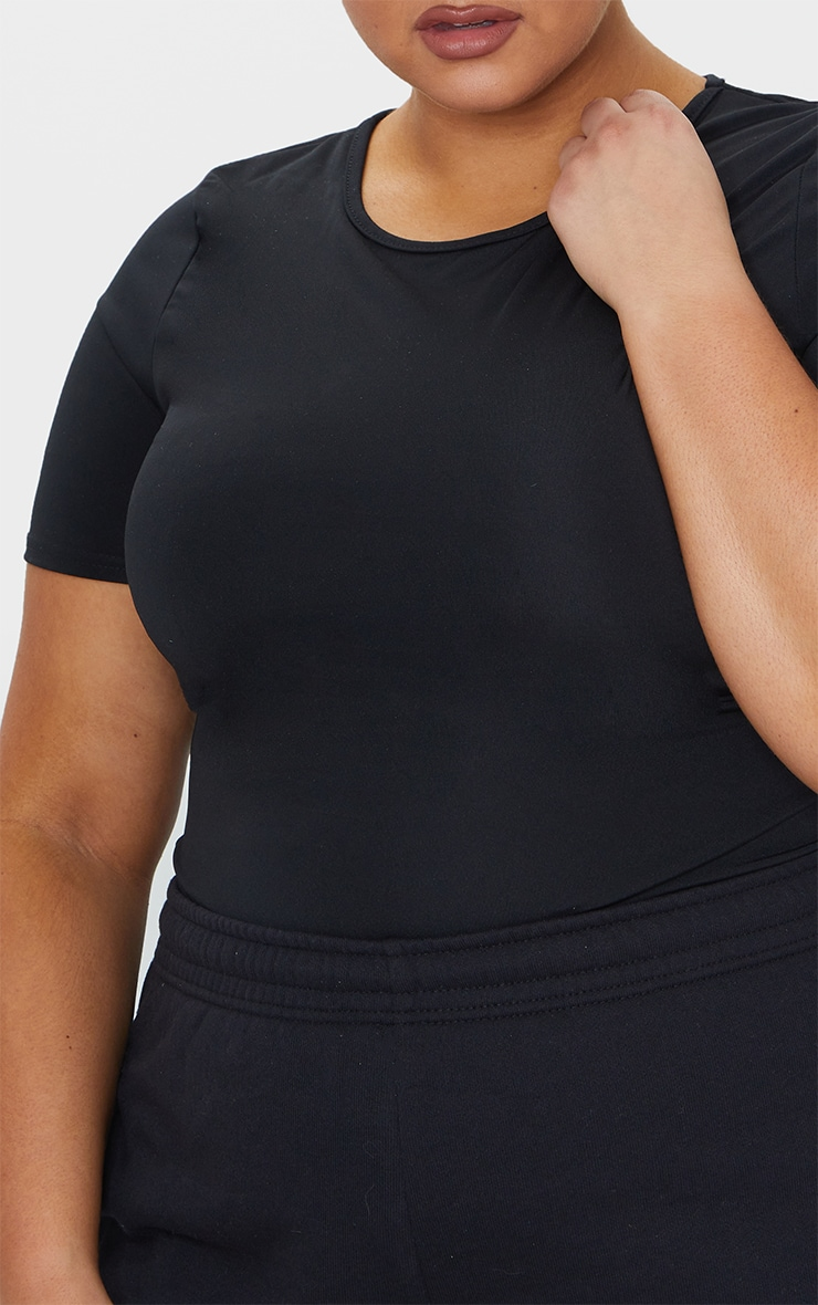 Plus Black Basic Short Sleeve Gym Top 4
