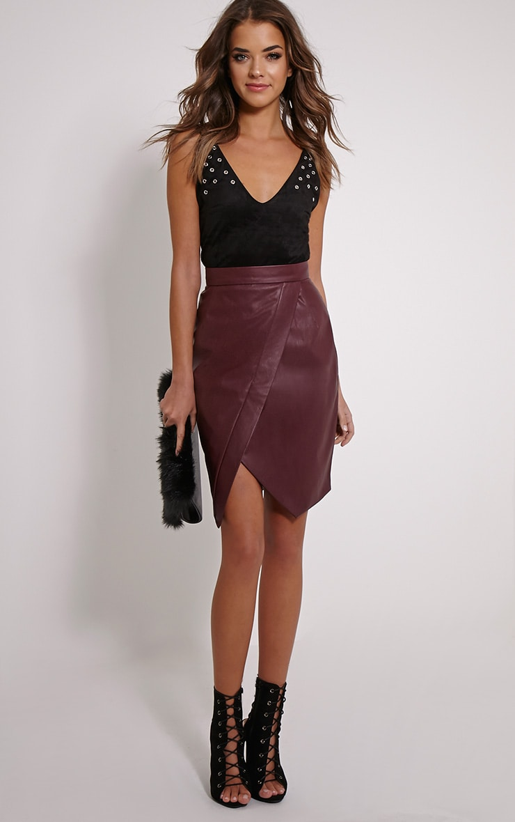 Greer Berry Faux Leather Wrap Midi Skirt 5