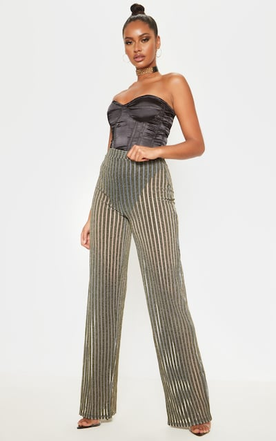 Gold Metallic Stripe Detail Wide Leg Trouser