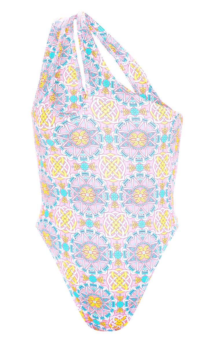 Multi Mosaic One Shoulder Swimsuit 3