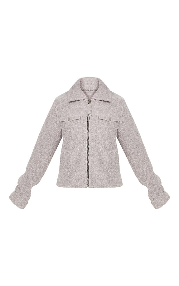 Petite Grey Teddy Fleece Pocket Detail Jacket 3