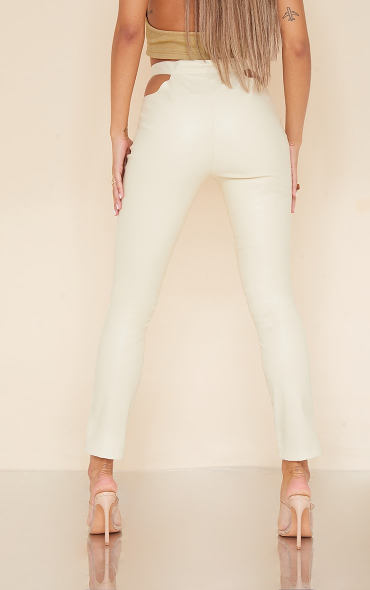 Cream Faux Leather Cut Out Detail Skinny Trousers 3