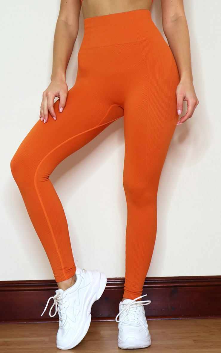 Burnt Orange Textured Seamless High Waist Gym Leggings 2