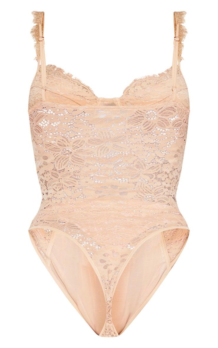 Shape Champagne Lace Mesh Stripe Bodysuit 6