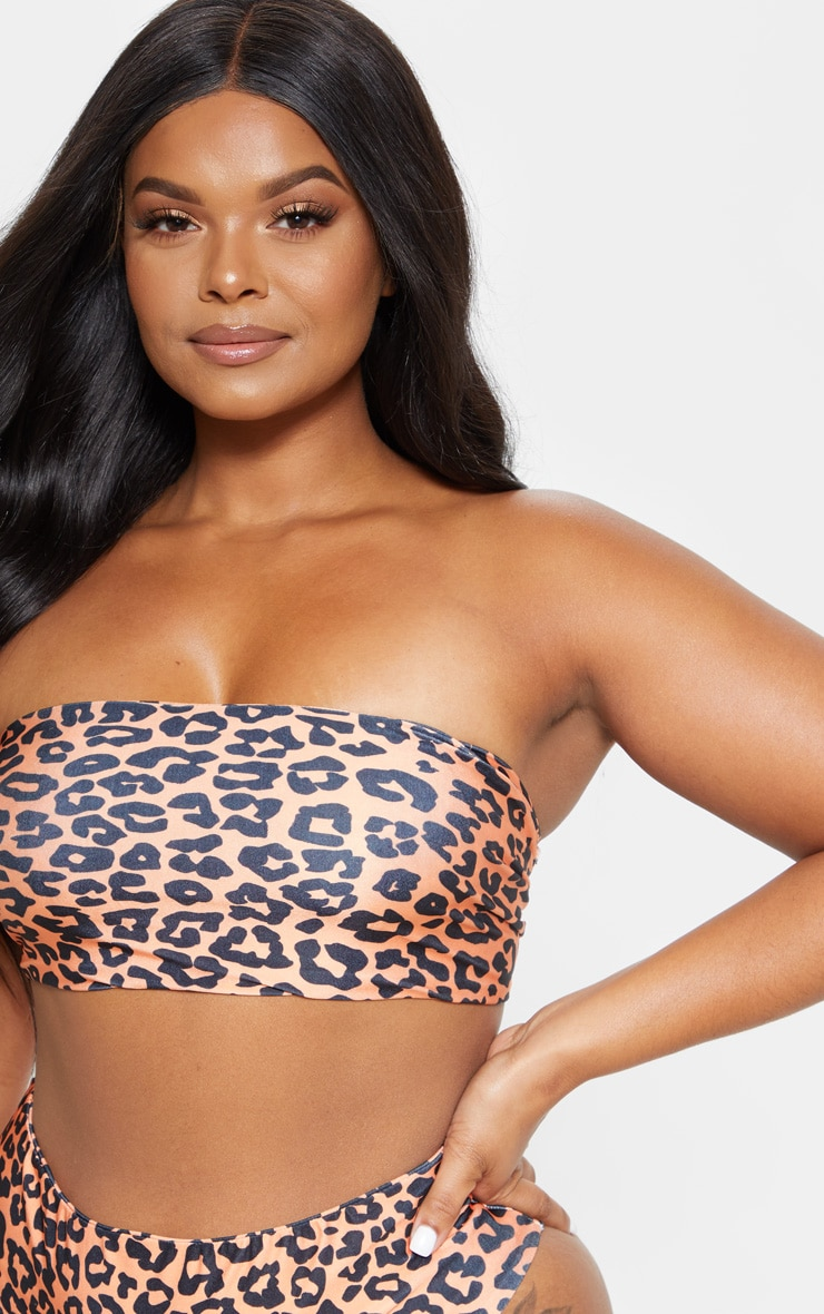 Plus Orange Leopard Print Bandeau Bikini Top 4