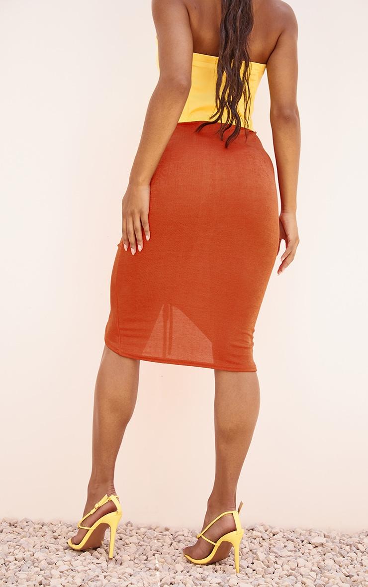 Orange Acetate Slinky V Front Ruched Midi Skirt 3