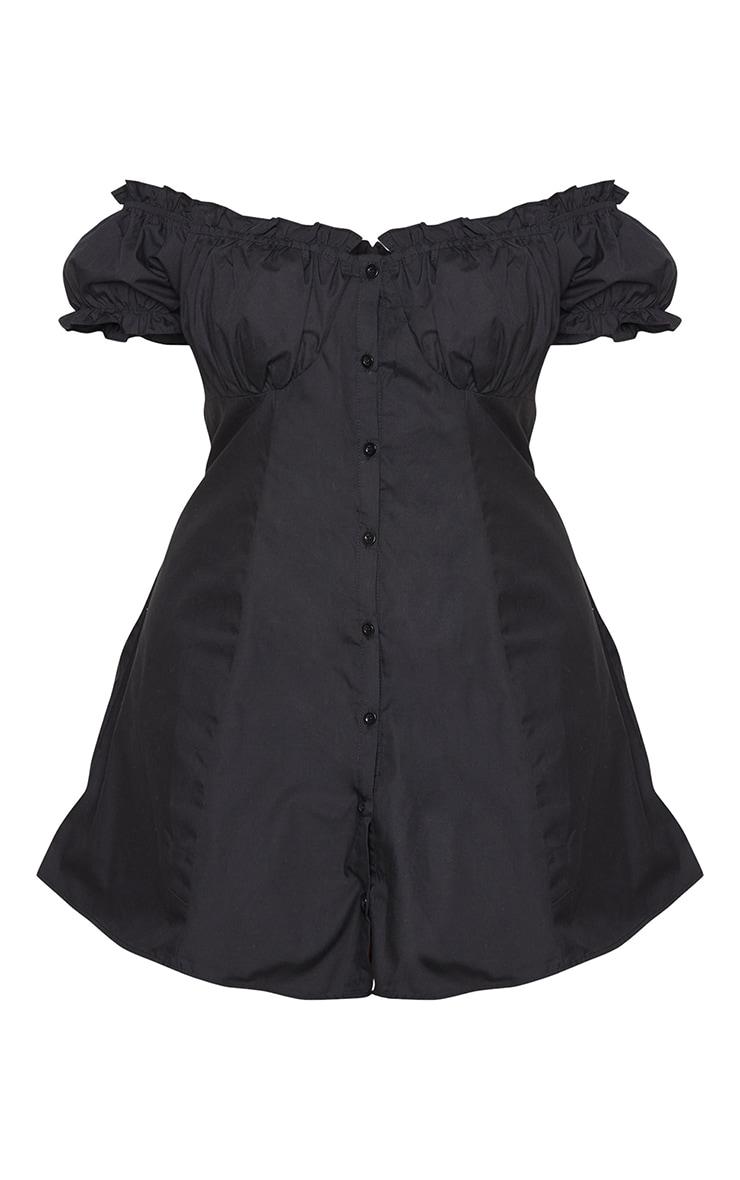 Plus Black Button Front Puff Sleeve Shift Dress 5