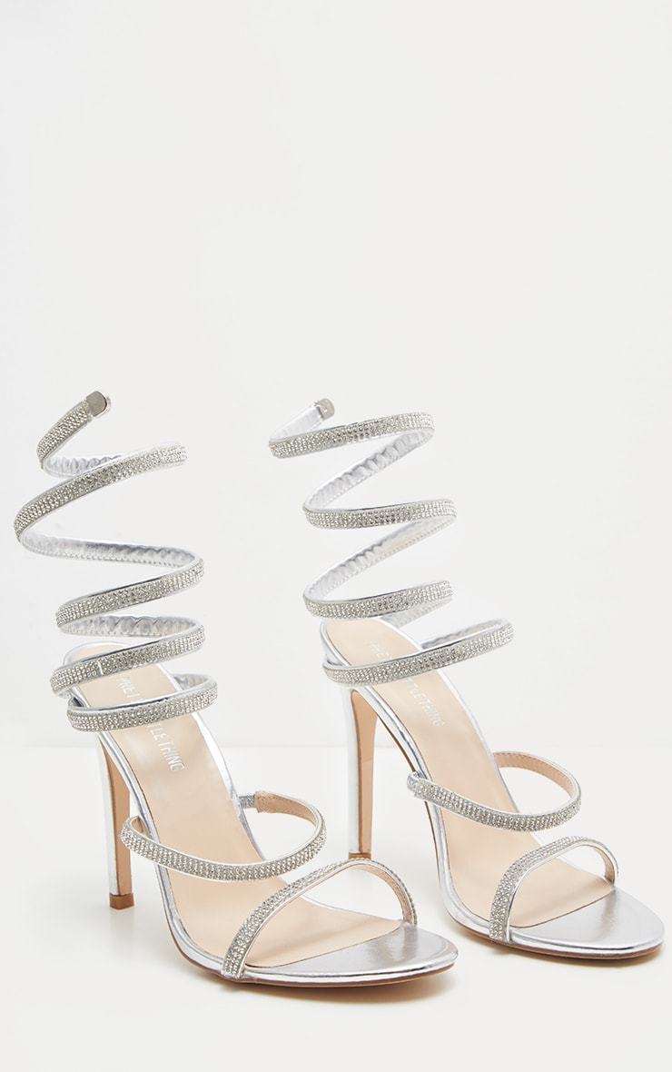 Silver Jewel Diamante Heel 4