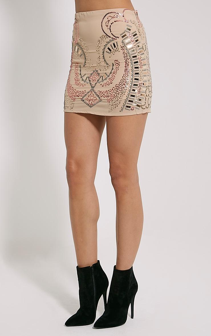 Elsine Blush Sequin Beaded Mini Skirt 3