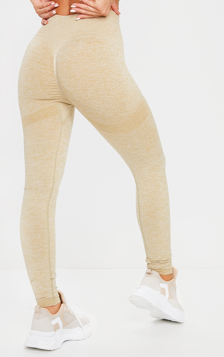 PRETTYLITTLETHING Olive Sport Ruched Bum Seamless Leggings 3