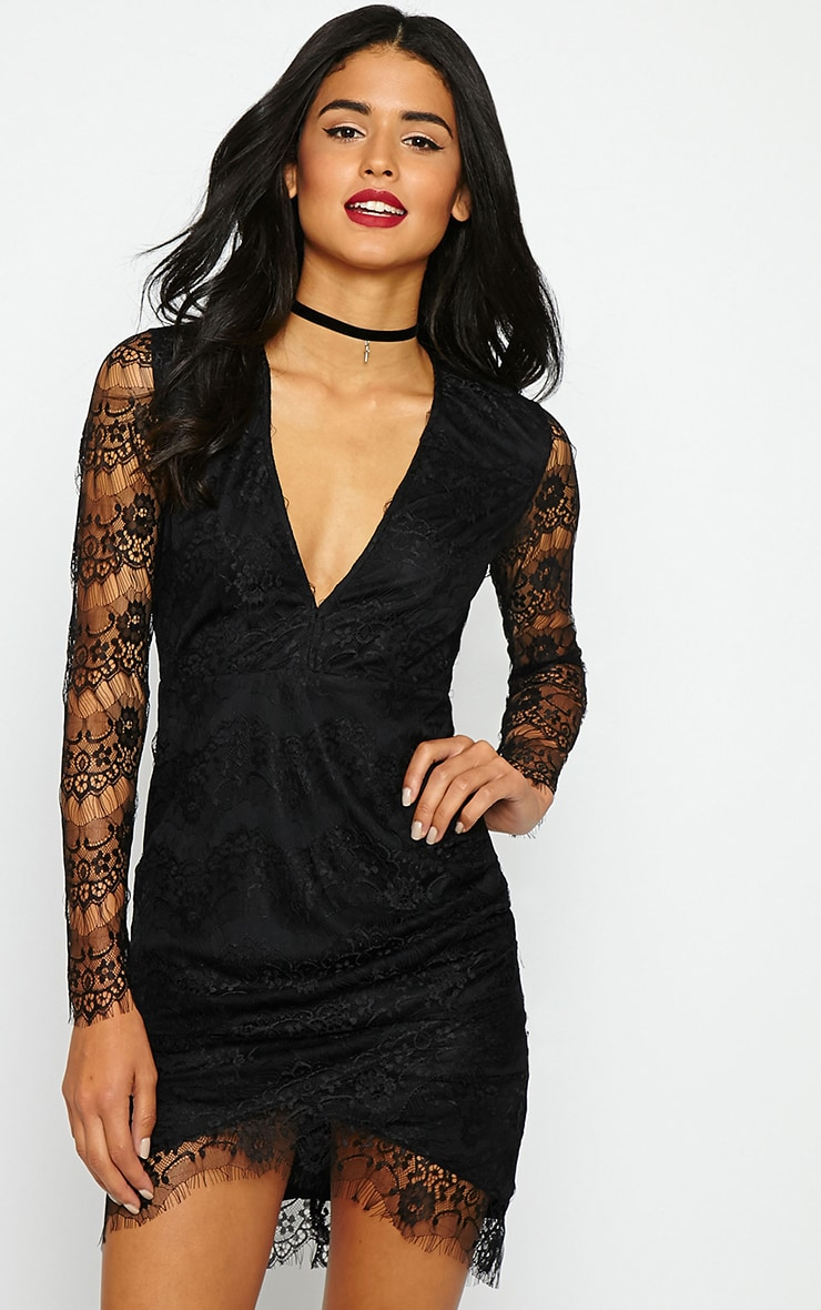 Giulia Black Lace Sleeve Plunge Dress 1