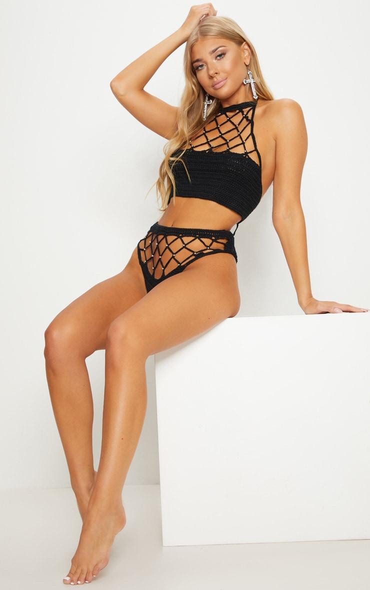 Black Crochet Beaded Bikini 4