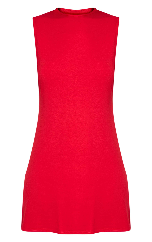 Maddy Red Drop Armhole Sleeveless T-Shirt Dress 3