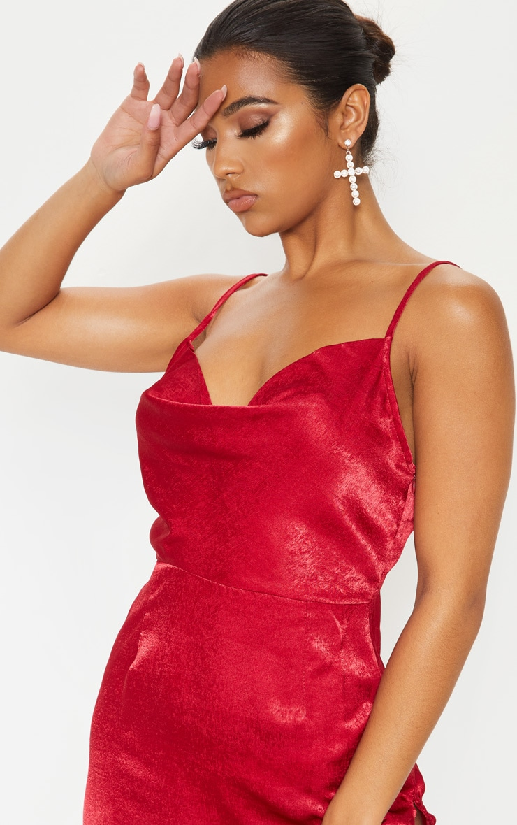Scarlet Hammered Satin Cowl Ruched Split Bodycon Dress 5