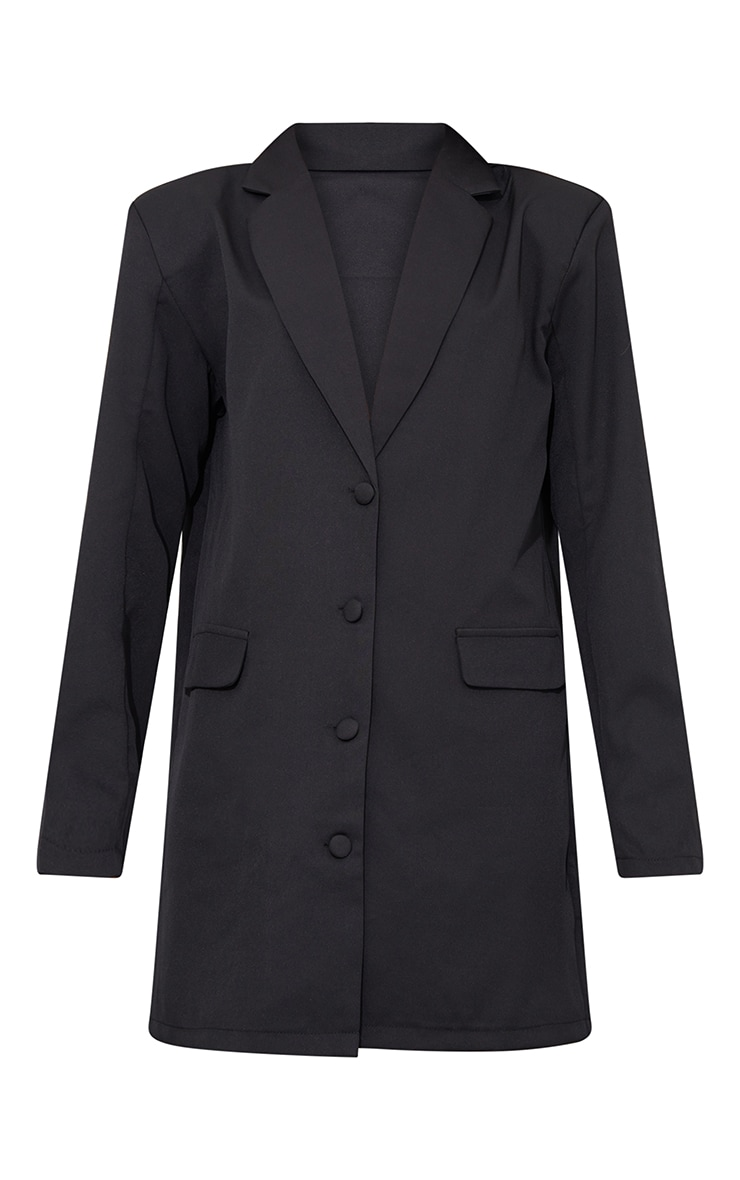 Black Long Sleeve Oversized Shoulder Pad Blazer Dress 5