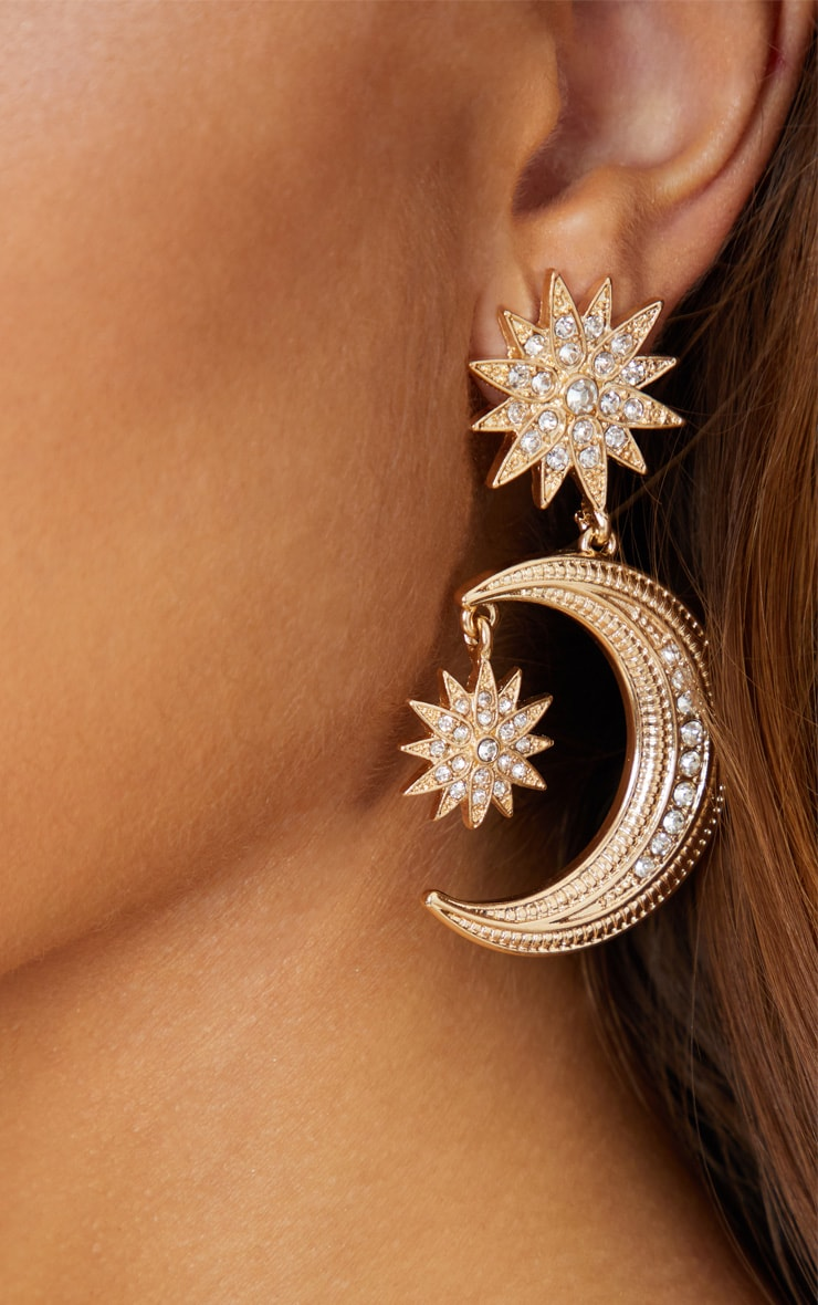 Gold Diamante Stars and Moon Earrings 3