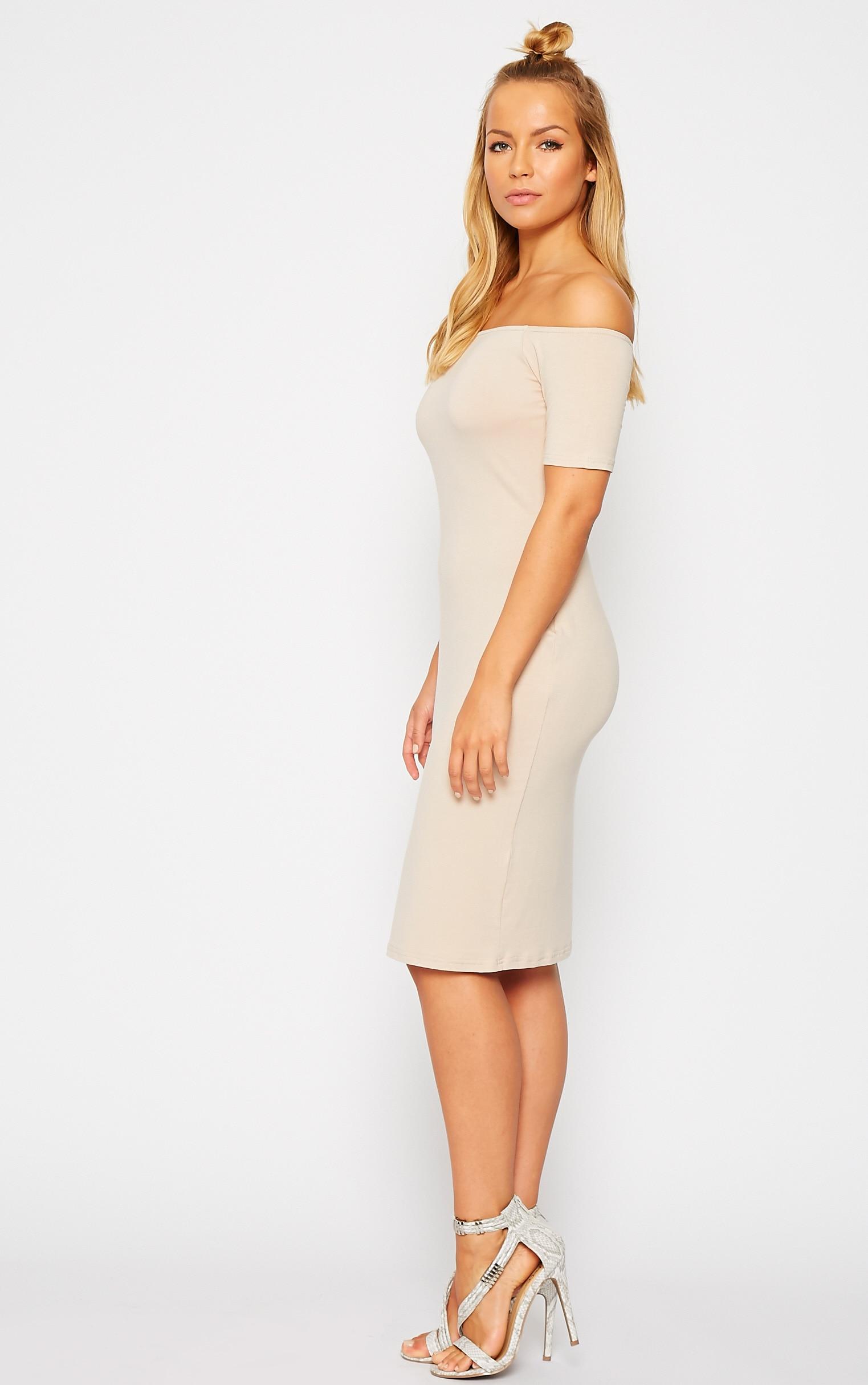 Caty Stone Jersey Bardot Midi Dress 4