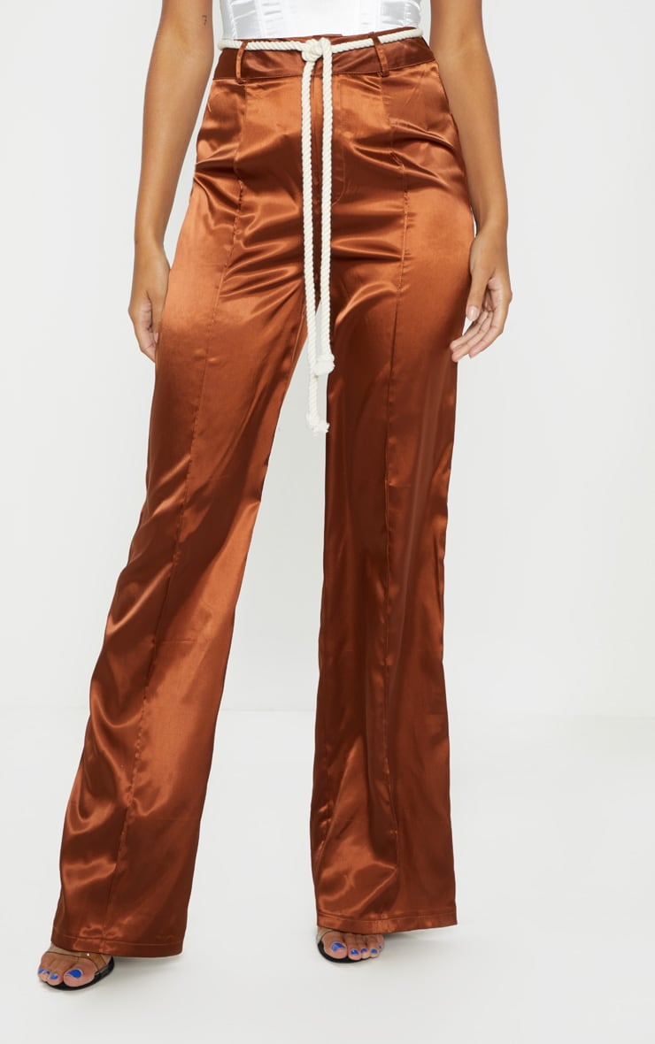 Chocolate Satin Rope Belt Wide Leg Pants 2