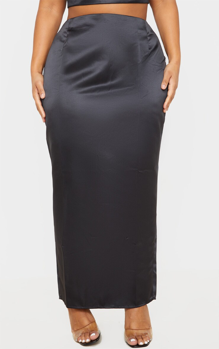 Plus Black Structured Satin Midaxi Skirt 2