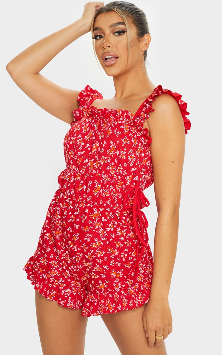 Red Floral Print Frill Detail Tie Waist Romper 1