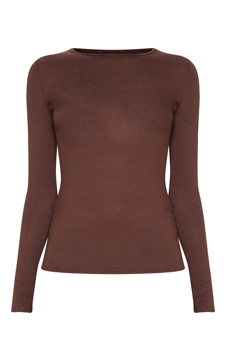 Basic Chocolate Long Sleeve Fitted T Shirt 3
